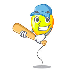 Playing baseball yellow balloon cartoon in shape illustration