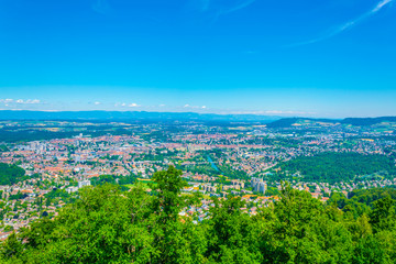 View from Gurten hill on Bern dominated by Münster cathedral and Bundeshaus, Switzerland