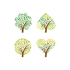 Four Tree in Green Color vector illustration concept polcadot leaves