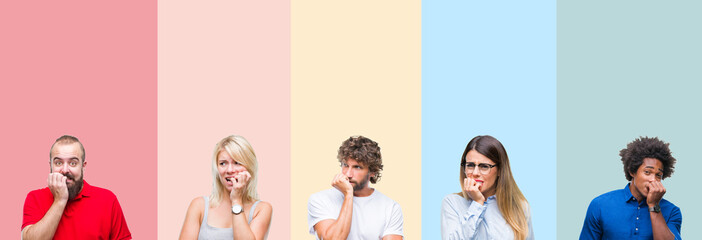 Collage of group of young people over colorful vintage isolated background looking stressed and nervous with hands on mouth biting nails. Anxiety problem.