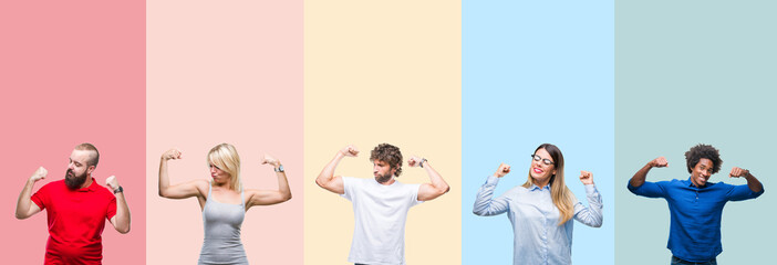 Collage of group of young people over colorful vintage isolated background showing arms muscles...
