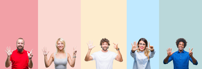Collage of group of young people over colorful vintage isolated background showing and pointing up with fingers number seven while smiling confident and happy.