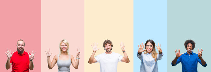 Collage of group of young people over colorful vintage isolated background showing and pointing up with fingers number eight while smiling confident and happy.