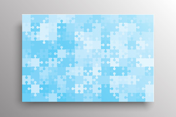 The Blue Pieces Background Puzzle. Jigsaw Banner.