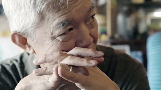Asian senior elderly man with ring serious thinking and worry about future