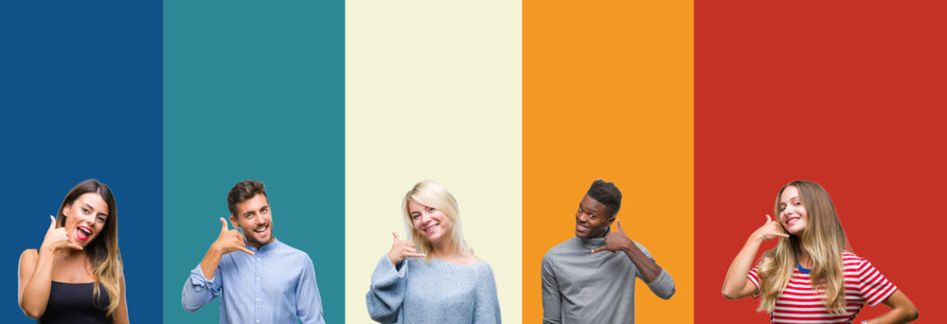 Collage of group of young people over colorful vintage isolated background smiling doing phone gesture with hand and fingers like talking on the telephone. Communicating concepts.