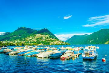 Marina in Lugano with Monte Bré mountain on background Switzerland
