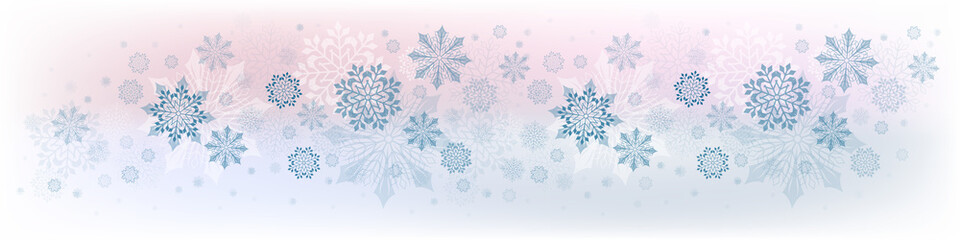 Christmas composition from a set of beautiful snowflakes of pink and blue hues.