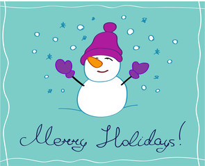 Merry holidays greeting card with a snowman character