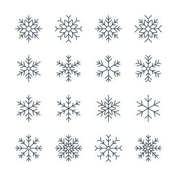 thin line snowflake icons