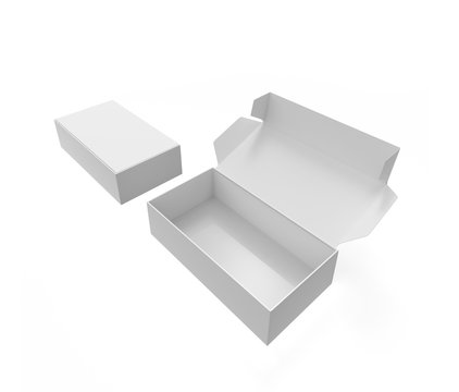 open and close packaging boxe isolated on white background . 3d illustration
