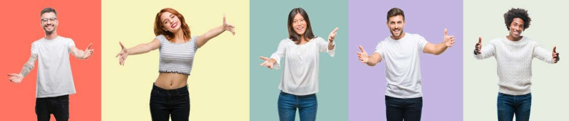 Composition of african american, hispanic and chinese group of people over vintage color background looking at the camera smiling with open arms for hug. Cheerful expression embracing happiness.