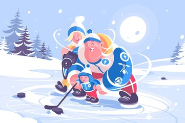 Cartoon family playing in hockey flat poster