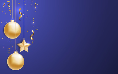 Vector illustration of christmas background with christmas ball star confetti gold color. Excellent with your text. EPS 10