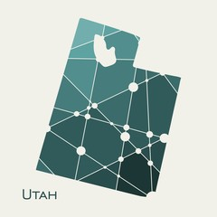 Image relative to USA travel. Utah state map textured by lines and dots pattern