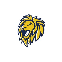 Blue Yellow Angry Lion Head, Vector Logo Design, Illustration, Template