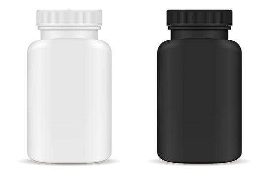 Drug medical bottles set. Black and white 3d Vector illustration. Mockup Template of medicine packaging for pills, capsule, drugs. Sports and health life supplements.