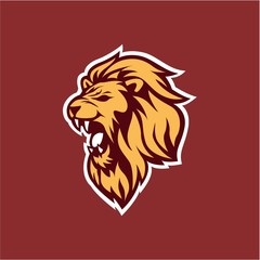 Gold Angry Lion Head Logo, Sign, Flat Design Vector Illustration