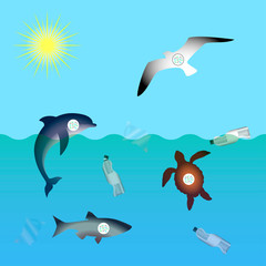 Animals affected by microplastic water contamination. Stop plastic pollution. Rumpled Plastic dishes and bags, Fish, dolphin, seagull, sea turtle, microplastics in sea.