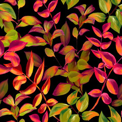 decorative fall leaves seamless pattern for surface design, fabric, wrapping paper, background. abstract style autumn illustration. natural leaf simple repeatable motif on black background