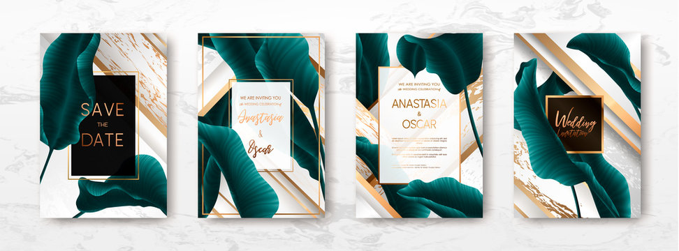 Wedding invitation with palm leaves.