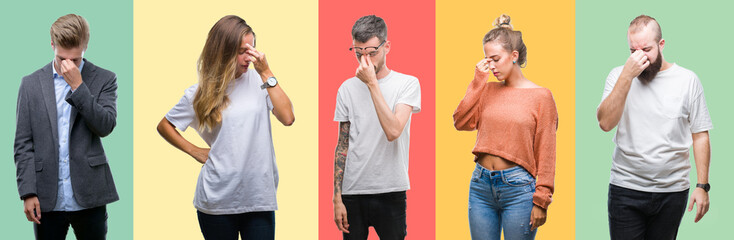 Collage of group people, women and men over colorful isolated background tired rubbing nose and eyes feeling fatigue and headache. Stress and frustration concept.