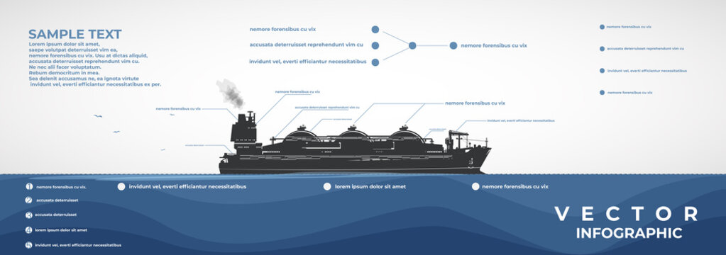 LNG carrier, vector infographics.