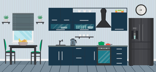 Blue kitchen with modern appliance, sink, furniture and dishes. Cooking devices. Table and chairs. Room interior. Home design. Flat vector illustration.