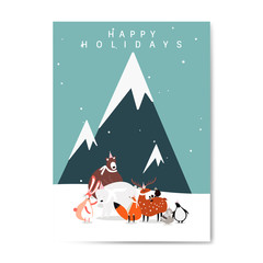 Winter themed postcard design vector