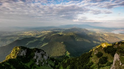 Fototapete - Time lapse Mountain valley during sunrise, Natural summer landscape in Slovakia