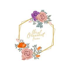 floral  watercolor frame ornament design illustration