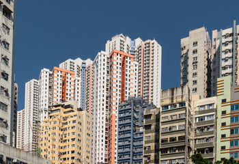 Apartment towers in the very densly populated city of Aberdeen in Hong Kong island in Hong Kong SAR, China.