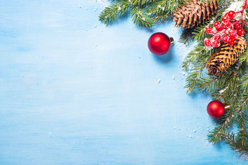 Christmas background on blue.