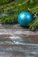 Christmas decorations on the branches of fir tree.