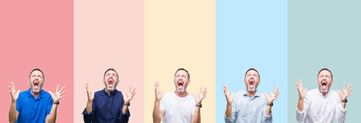 Collage of senior hoary handsome man over colorful stripes isolated background crazy and mad shouting and yelling with aggressive expression and arms raised. Frustration concept.