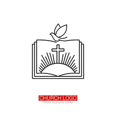 Church logo. Christian symbols. The cross of Jesus and the dove on the background of an open bible