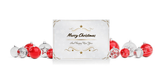 Christmas card greetings laying on red baubles isolated 3D rendering
