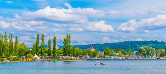 Obraz Cityscape of Biel/Bienne behind Bielersee in Switzerland - fototapety do salonu