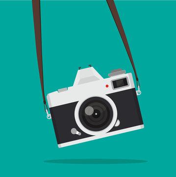Hanging retro Camera vector
