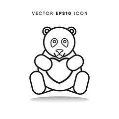 Bear valentines day vector icon