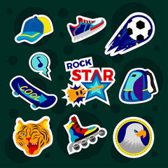 Fashion patch badges with backpack, rollers, ball, baseball cap, board and other. Large set of girlish and boyish stickers, patches in cartoon isolated.Trendy stickers print for backpacks, clothes