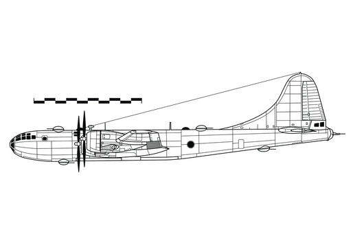 Combat aircraft. Boeing B-29 SUPERFORTRESS. Outline drawing