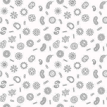 Seamless bacteria and microorganism pattern or background. Vector microbiology outline illustration
