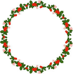Holly berry wreath. Leaves for traditional ornamental plants for greeting cards for for Merry Christmas and Happy New Year.