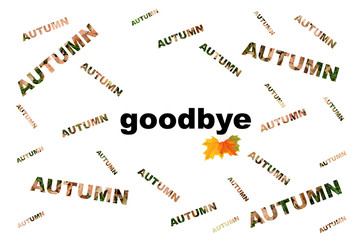 Scattered words on the poster, autumn goodbye