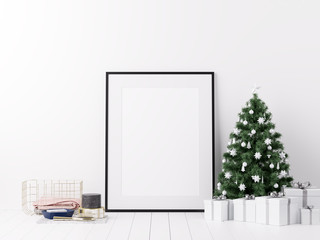 Mock Up Poster Frame with Christmas Winter Decoration