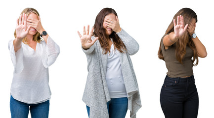 Collage of group of three young beautiful women over white isolated background covering eyes with hands and doing stop gesture with sad and fear expression. Embarrassed and negative concept.