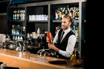 Handsome barman mixing drink in shaker