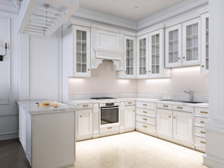 Luxury kitchen classic scandinavian style, white wooden panel with marble tabletoop.