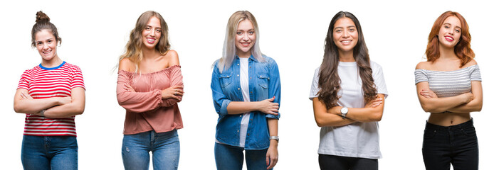 Collage of young beautiful grop of women over isolated background happy face smiling with crossed arms looking at the camera. Positive person.